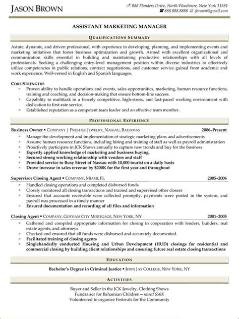 Resume Sles For Assistant Manager Position Sales Resume Exles Resume Professional Writers
