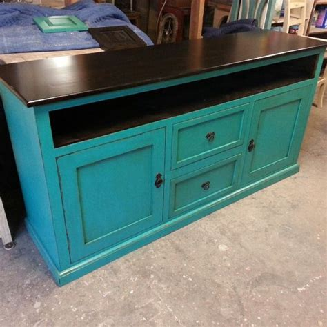 Turquoise Media Cabinet by Funky Turquoise Distressed Tv Custom Media Console Custom