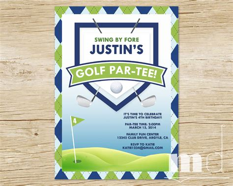 anniversary card golf template golf themed birthday invitations ideas bagvania free
