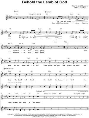 printable lyrics to now behold the lamb matt maher quot behold the lamb of god quot ssa choir a cappella