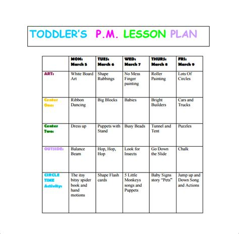 Toddler Lesson Plan Template ? 10  Free Word, Excel, PDF