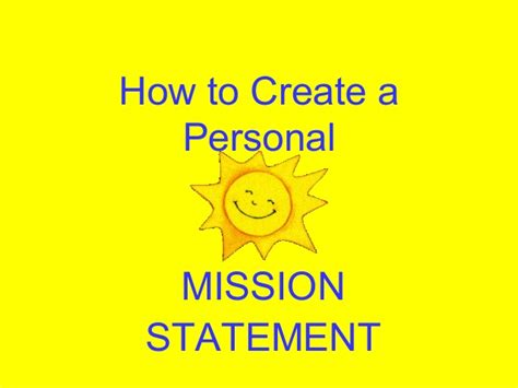 how to start a personal mission statement mission statement