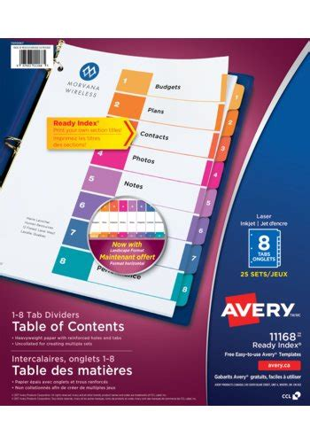 Avery 174 11168 Ready Index 174 Table Of Content Dividers 8 1 2 Quot X 11 Quot Multi Colour Avery 25 Tab Table Of Contents Template