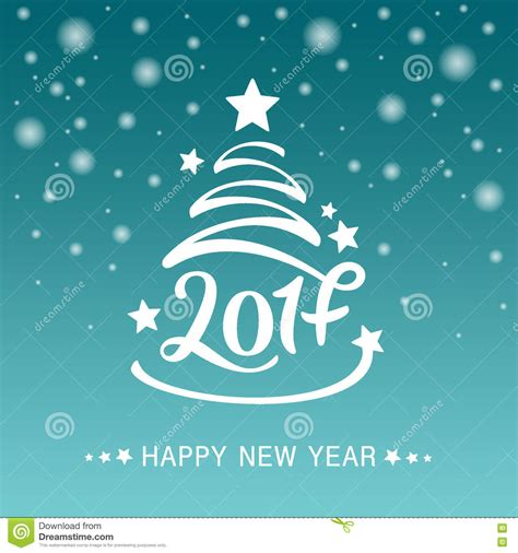 new year invitation greeting cards vector tree with lettering of 2017 for