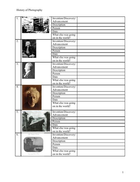 Photography Worksheets history of photo worksheet