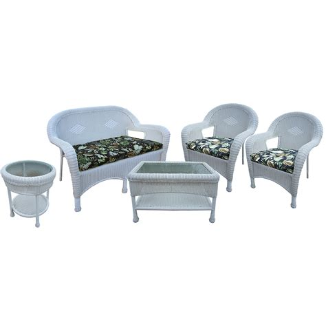 white resin wicker loveseat oakland living resin wicker 5 pc seating set with