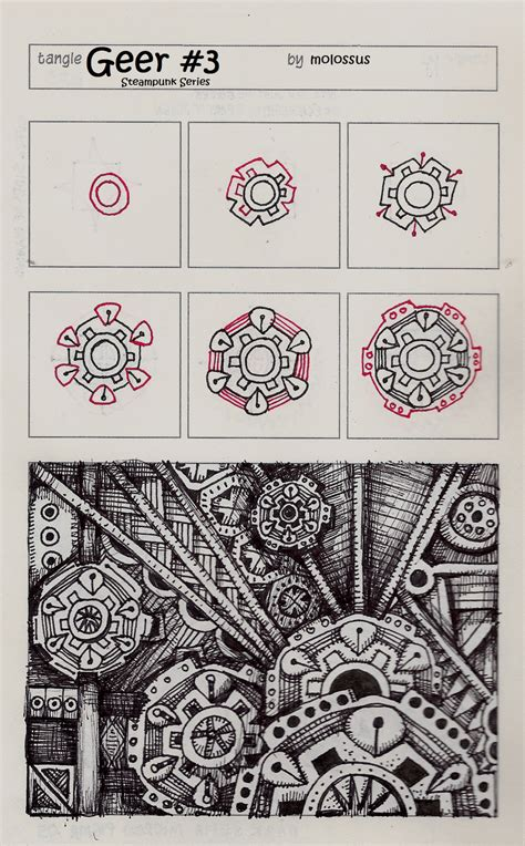 zentangle new pattern new tangle patterns geer no two and geer no three