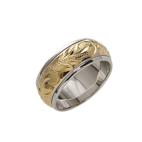 8mm 14k yellow gold plated spinning rings makani hawaii