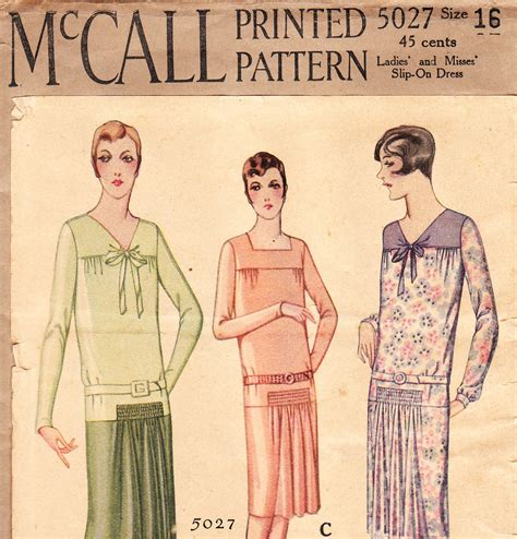 1920s vintage dress pattern mccall 5027
