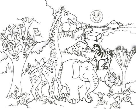 animals afica coloring pages