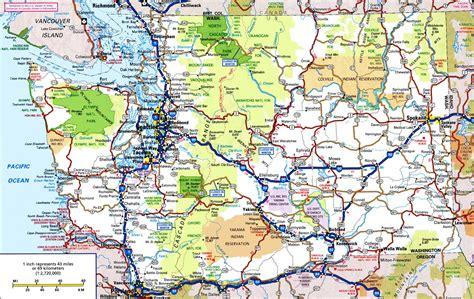 maps  washington  oregon states  travel