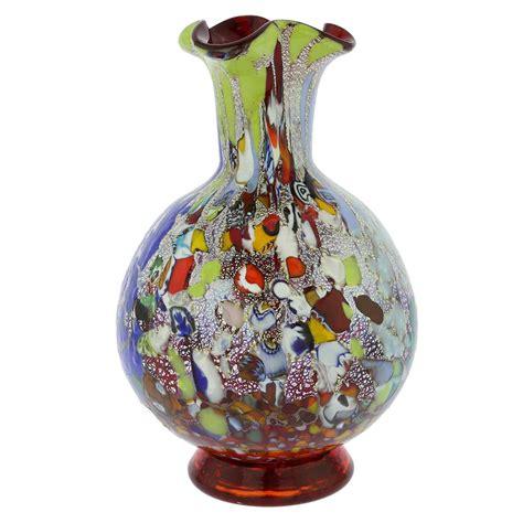 millefiori vase glassofvenice murano glass millefiori vase silver