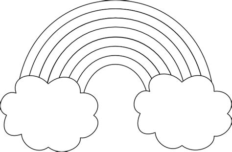 Rainbow With Clouds Outline Clip Art at Clker.com - vector ... Rainbow Clipart Outline