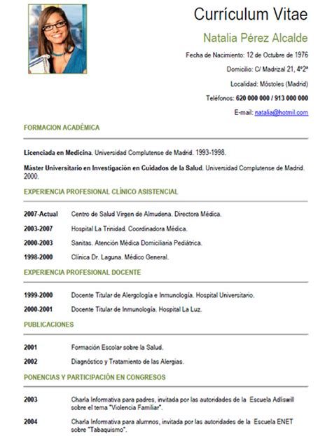 Modelo Curriculum Vitae Medico Europeo Cv M 233 Dico Enfermera 1 Cvexpres
