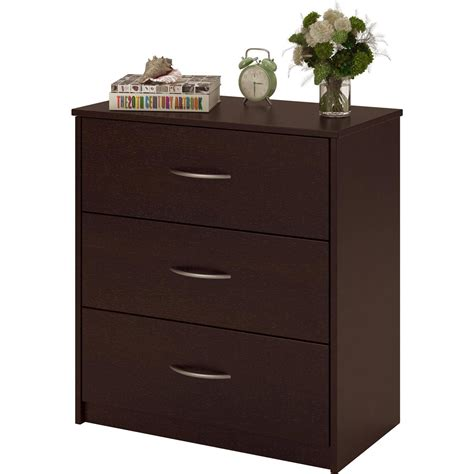 Furniture Dresser Chest 3 Drawer Dresser Chest Bedroom Furniture Black Brown White