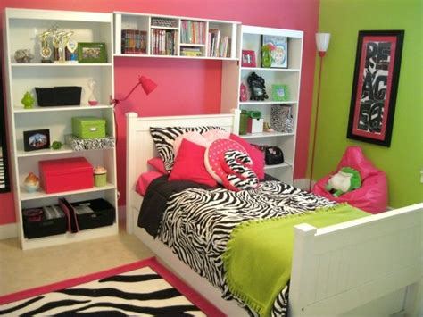 pink lime green and zebra tween room house