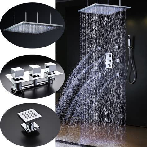 High Pressure Shower Head Handheld by Sicily 40 Quot 40 Quot Large Chrome Led Rain Shower Head With