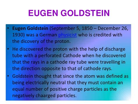 eugen goldstein proton discovery atomic theory chelsie