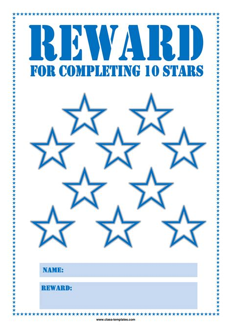 free star reward chart for kids templates at