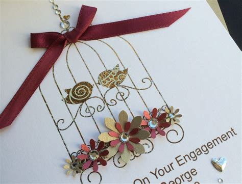Engagement Handmade Cards - handmade engagement card bird cage handmade cards pink