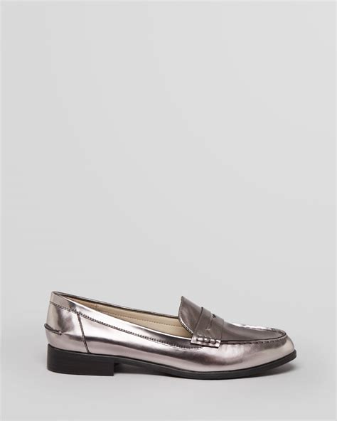 steve madden loafer flats steven by steve madden loafer flats ronnie in metallic lyst