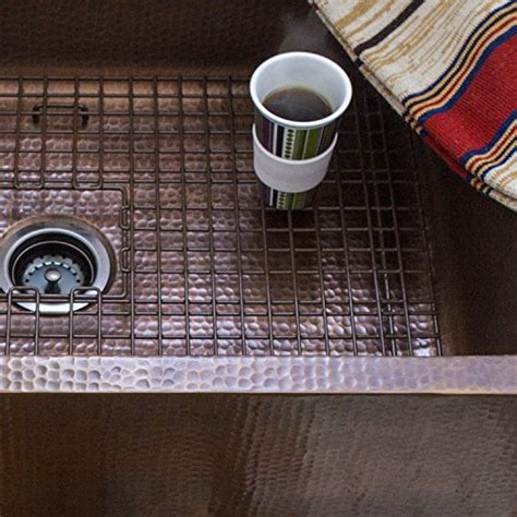 copper farmhouse sink grid sinkology sg001 33 wright copper kitchen sink bottom grid