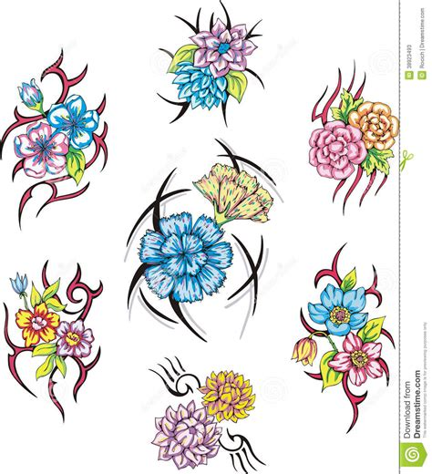 Colorful Flower Tattoos Designs Royalty Free Images No | colorful tribal flower tattoos stock illustration image