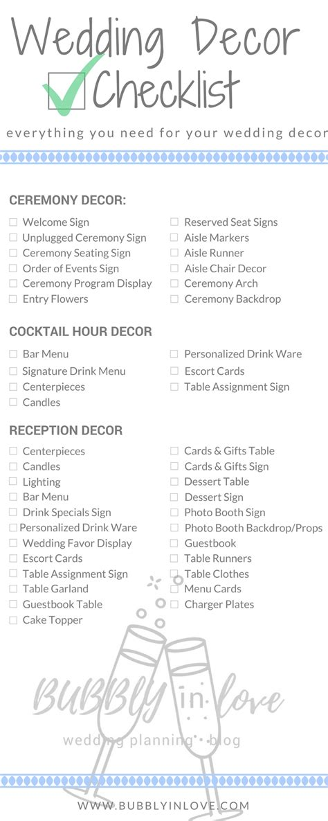 Wedding Checklist Decor by Wedding Decor Checklist Everything You Need To Plan Your