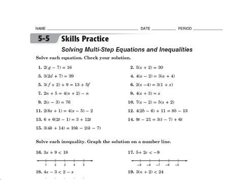 8th Grade Linear Equations Worksheets by Inequalities Worksheet 8th Grade Abitlikethis