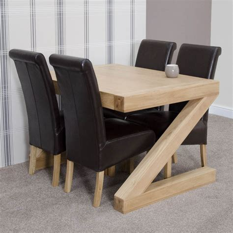 Dining Table 4 Chairs And Bench Z Solid Oak Designer Furniture Dining Table And Four Chairs Set