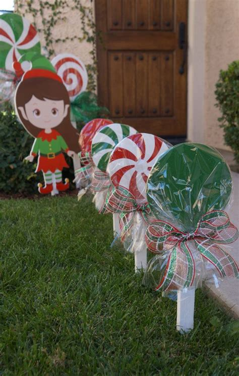 outdoor 8 diameter christmas lollipops wooden lollipops for your yard and sparkly uv protected for