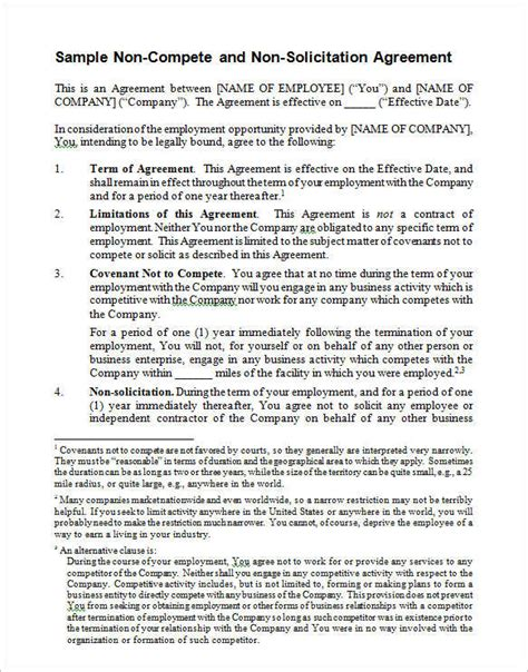 non compete agreement template word non compete agreements free word excel pdf documents