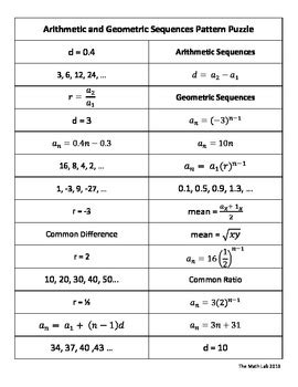 4 3 Arithmetic And Geometric Sequences Worksheet
