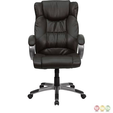 High Back Leather Office Chair by High Back Espresso Brown Leather Executive Office Chair Bt