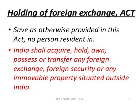 For Mba Outside India by Foreign Exchange Management Act