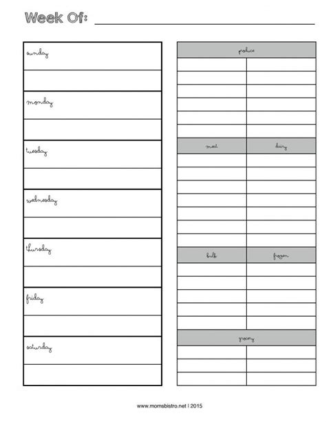 menu planner with grocery list template weekly menu planner with grocery list new febrary 2015