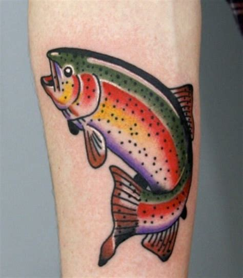 trout tattoo designs the colors traditional style fish emblem