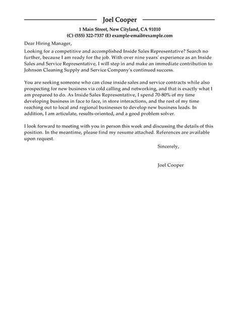 cover letter for inside sales best inside sales cover letter exles livecareer