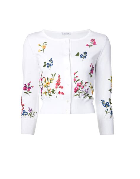Embroidery Flower Cardigan lyst oscar de la renta floral embroidered cardigan in white
