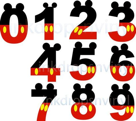 mickey mouse inspired letters and numbers red by