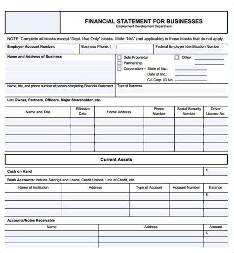financial statement template for small business personal financial statement form 7 free sles