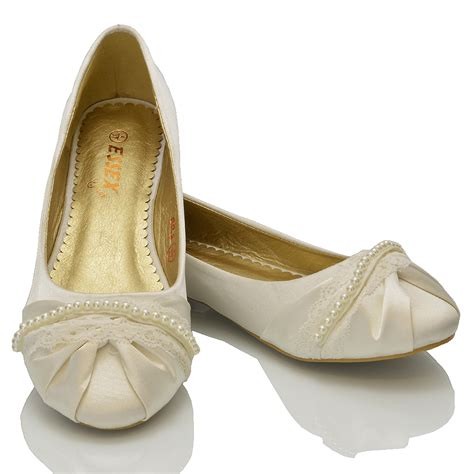 Bridal Flat Pumps by New Womens Lace Pearl Wedding Bridal Ivory White Ballerina