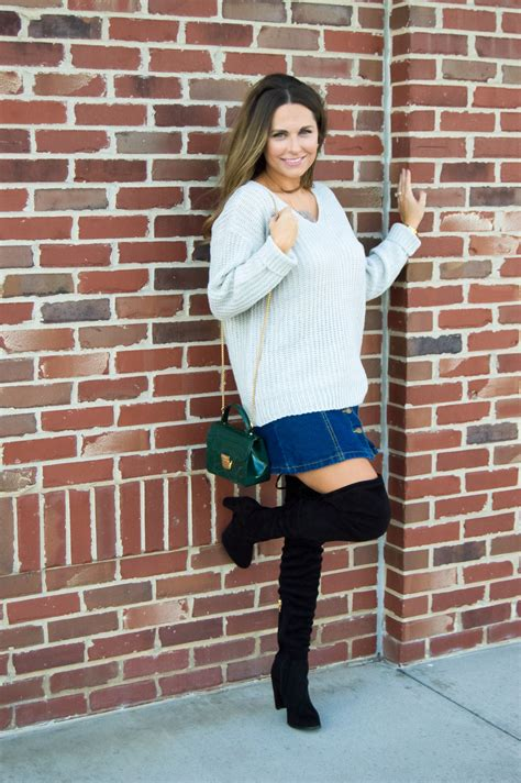 denim skirt with boots redskirtz