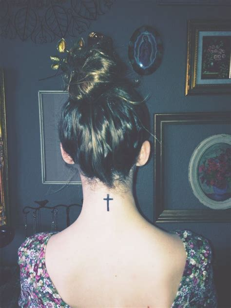 cross tattoos back neck best 25 cross neck tattoos ideas on