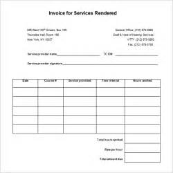 invoice services rendered template service receipt template 10 free sle exle