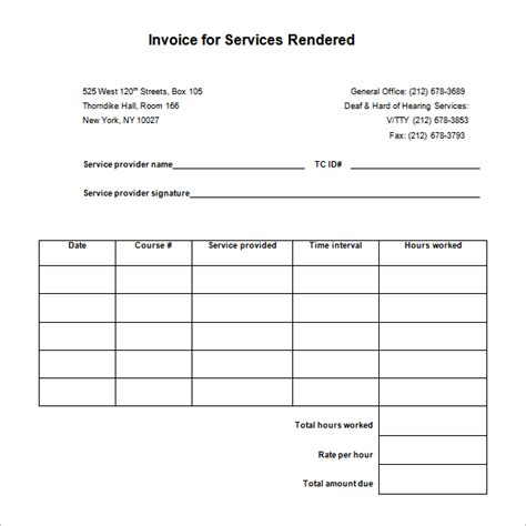 invoice services rendered template sle invoice for services rendered template hardhost info