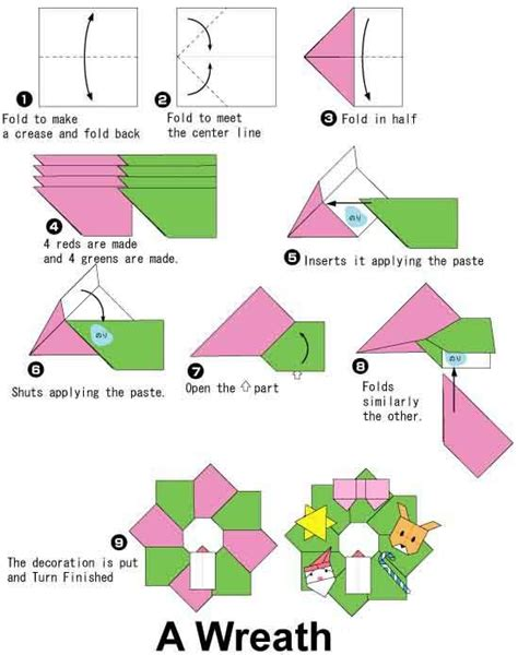 Origami Wreath Tutorial - an origami and embroidery site even though the origami