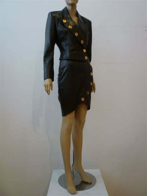 jean claude jitrois sculpted 1980s leather skirt suit at