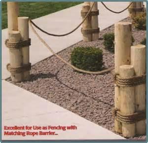 Wood piling nautical rope fence