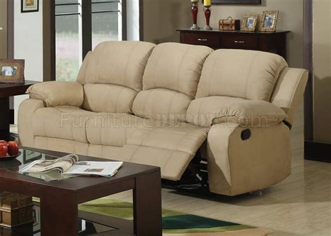 cream microfiber couch 7190 reclining sofa in cream microfiber w options